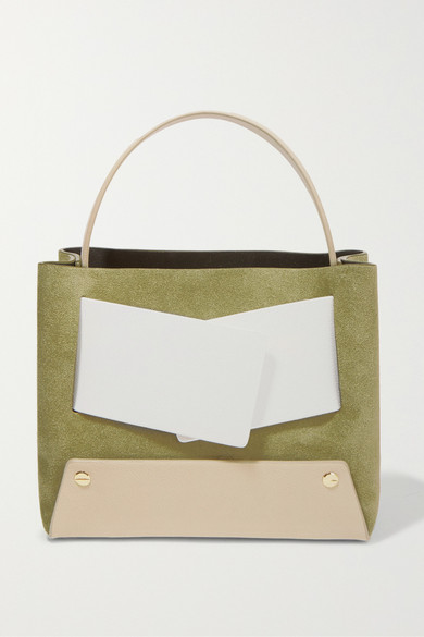 Dinky Small Color-Block Suede And Textured-Leather Tote, Army Green