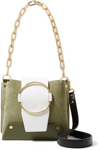 Delila Color Block Textured Leather And Suede Shoulder Bag by Yuzefi