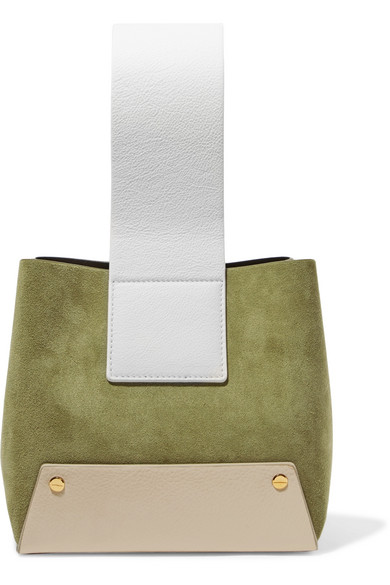 Tab Small Color Block Textured Leather And Suede Tote by Yuzefi