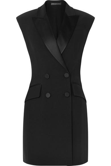 Double-Breasted Crepe Tuxedo Mini Dress in Black