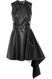 Alexander McQueen Asymmetric textured-leather mini dress
