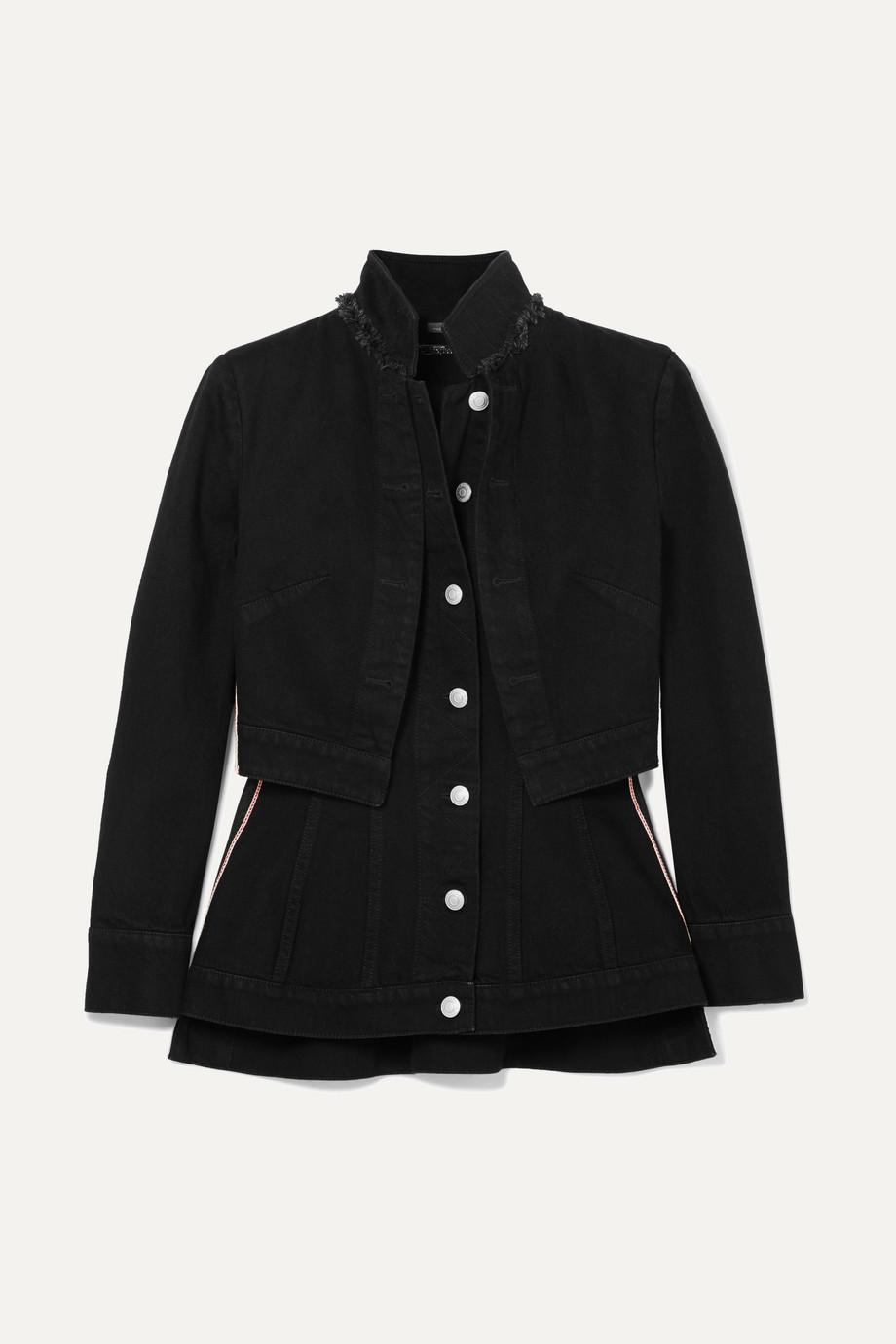 Alexander McQueen Layered grosgrain-trimmed denim jacket