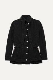 Alexander McQueen Layered grosgrain-trimmed denim jacket
