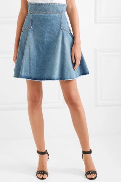 Alexander Mcqueen Skirts Pleated denim mini skirt