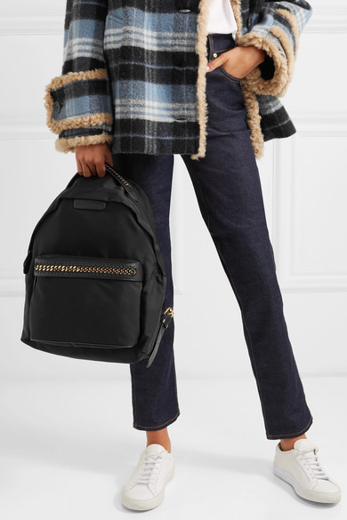 The Falabella Faux Leather Trimmed Shell Backpack by Stella Mc Cartney