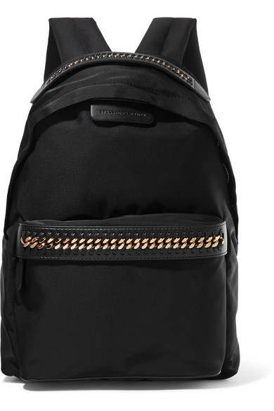 The Falabella Faux Leather-Trimmed Shell Backpack in Black