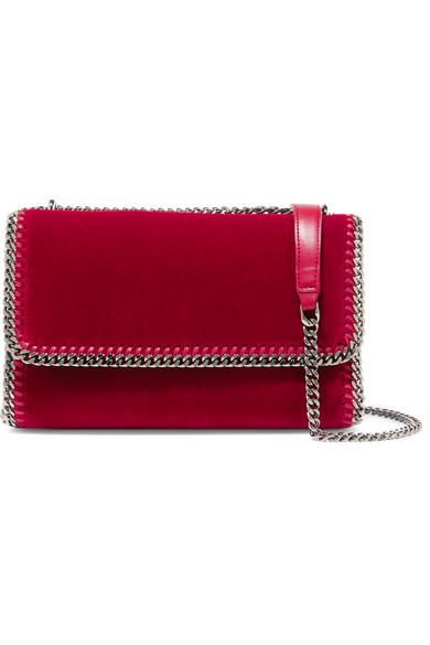 Stella McCartney - The Falabella Velvet Shoulder Bag - Crimson
