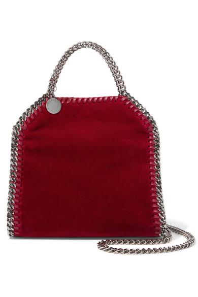 Stella McCartney - The Falabella Tiny Velvet Shoulder Bag - Red