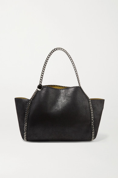 The Falabella Medium Reversible Faux Brushed-Leather Tote in Black