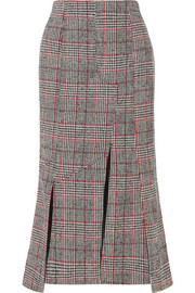 Prince of Wales checked wool-blend midi skirt