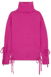 Lace-up wool and cashmere-blend turtleneck sweater