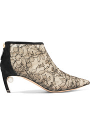 Mira faux pearl-embellished lace and suede ankle boots