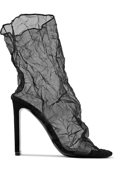 Nicholas Kirkwood - D'arcy Pvc And Crinkled-organza Ankle Boots - Black