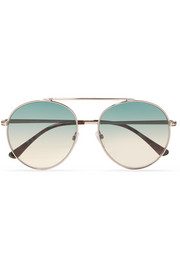 Aviator-style silver-tone and acetate sunglasses
