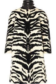 Alexander McQueen Leather-trimmed zebra-jacquard coat