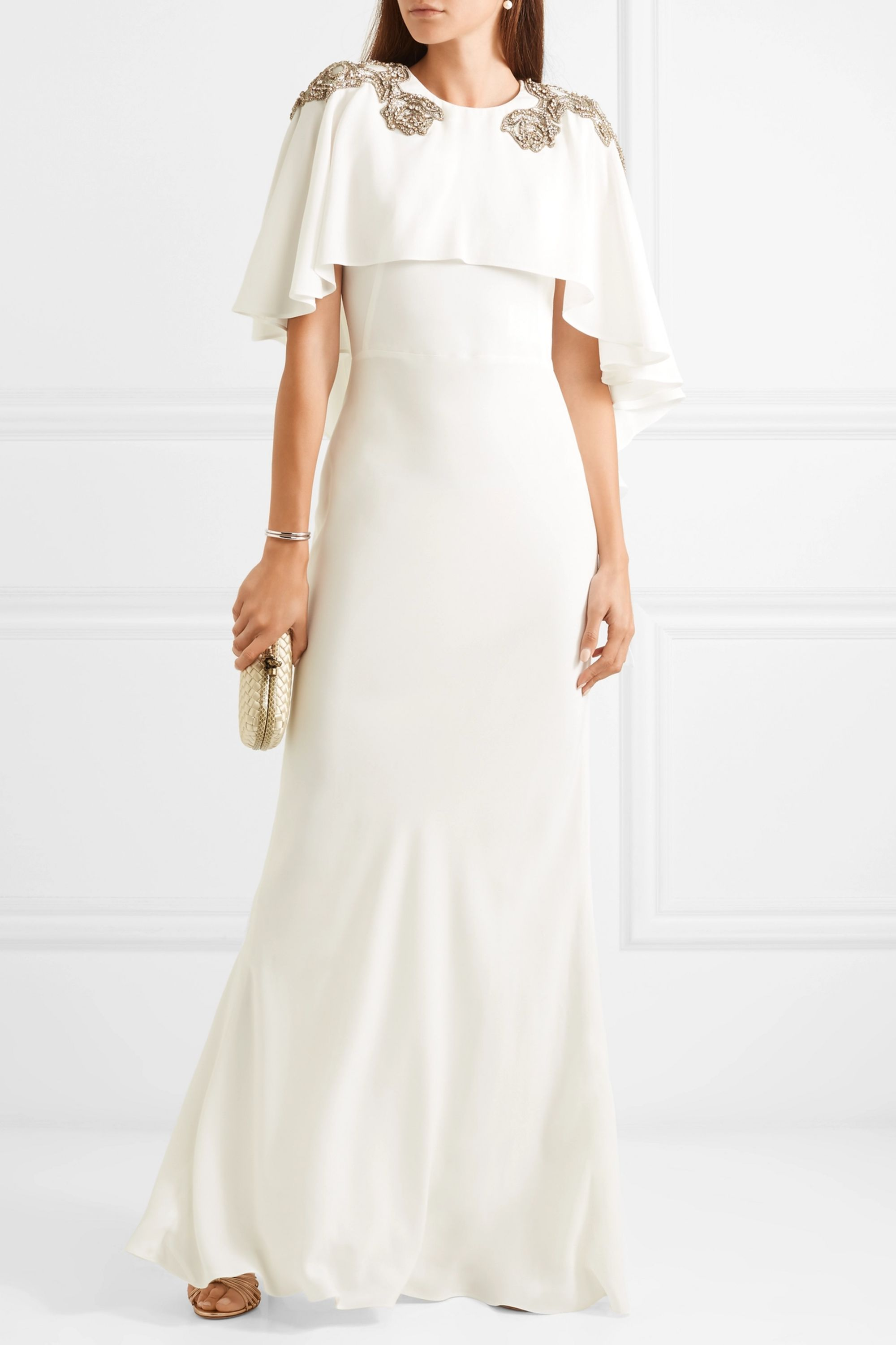 Ivory Cape Effect Embellished Crepe Gown Alexander Mcqueen Net A Porter