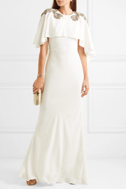 Cape-effect embellished crepe gown