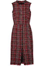 Alexander McQueen Frayed tweed midi dress
