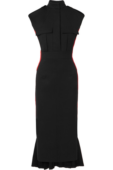 Grosgrain Trimmed Wool Blend Crepe Dress by Alexander Mc Queen
