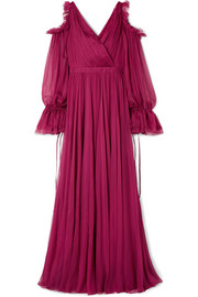 Cold-shoulder pleated ruffled silk-chiffon gown
