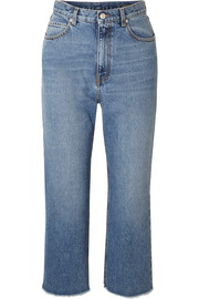 Alexander McQueen Cropped frayed jeans