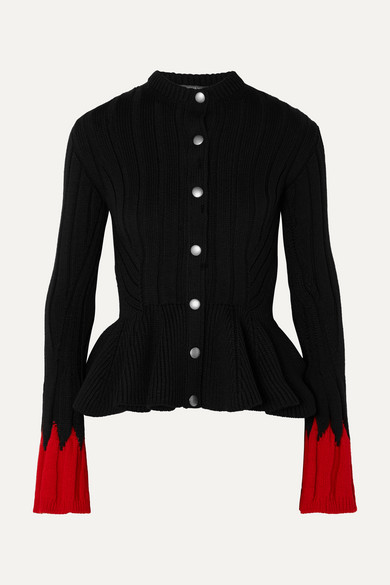 Ribbed Wool Blend Peplum Cardigan by Alexander Mc Queen