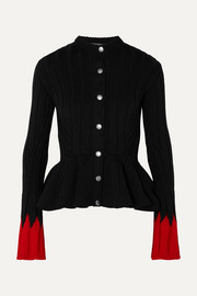Ribbed wool-blend peplum cardigan