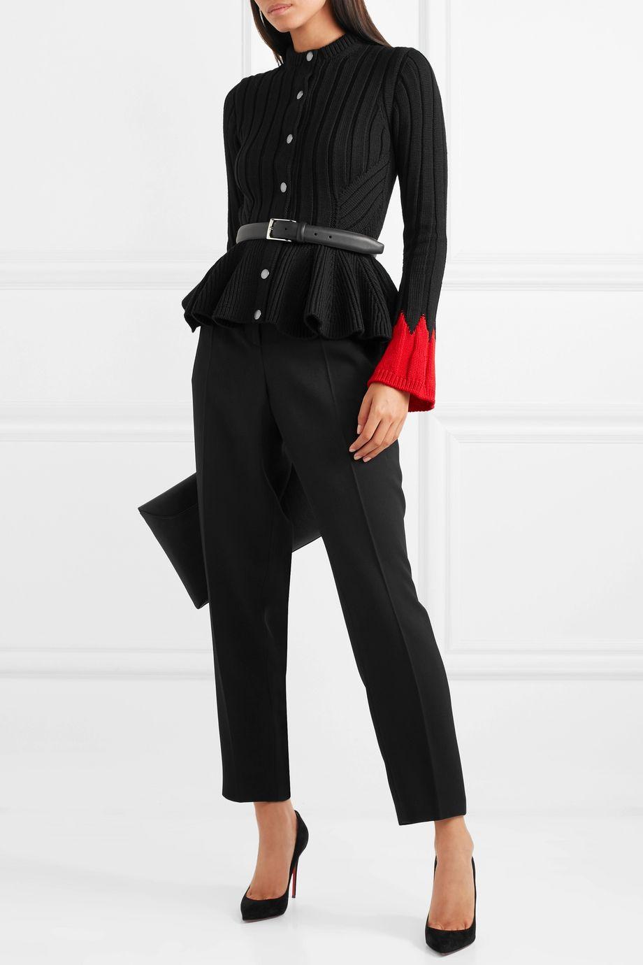 Alexander McQueen Ribbed wool-blend peplum cardigan