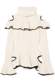 Alexander McQueen Ruffled ribbed wool and cashmere-blend sweater