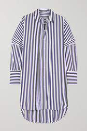 Alexander McQueen Oversized cutout striped cotton-poplin shirt