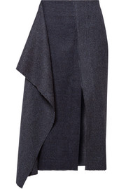 Draped herringbone wool and cashmere-blend midi skirt