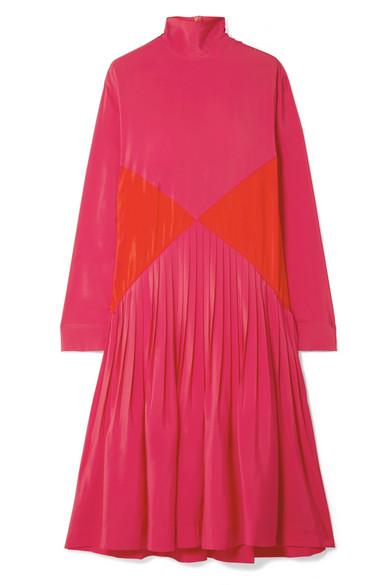 Cédric Charlier - Color-block Pleated Crepe Midi Turtleneck Dress - Pink