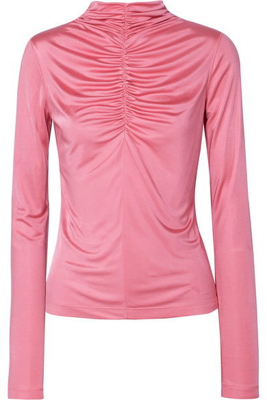 Ruched Satin-Jersey Top