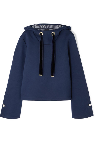 Mother of Pearl - Lumen Faux Pearl-embellished Cotton And Modal-blend Hoodie - Navy