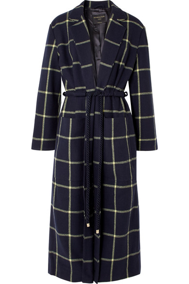 MOTHER OF PEARL ANYA CHECKED WOOL-BLEND COAT