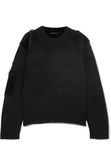 Mother of Pearl - Atlas Embellished Velvet-trimmed Knitted Sweater - Black