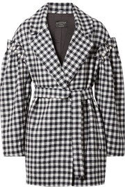 Emmett belted faux pearl-embellished gingham wool jacket