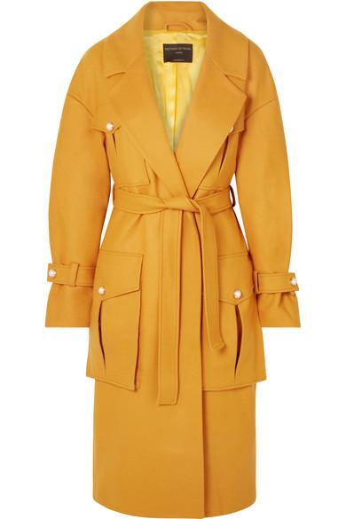 Weston Faux Pearl-Embellished Wool-Blend Coat, Mustard