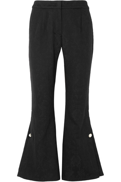 Mother of Pearl - Louie Faux Pearl-embellished Organic Cotton And Wool-blend Jacquard Flared Pants - Black