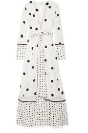 Polka-dot silk crepe de chine robe