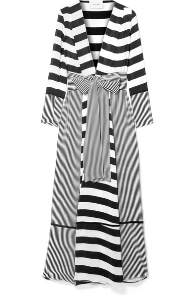 Monochrome Striped Silk Maxi Jacket in White