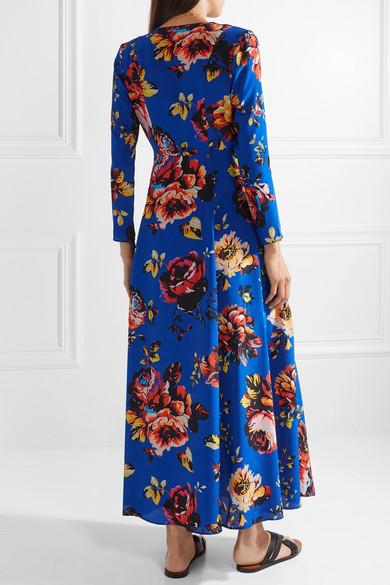 Floral-print Silk Crepe De Chine Robe - Blue We are Leone bGbiS0r1Hy