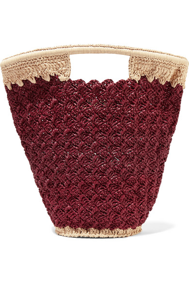 CARRIE FORBES Lily Woven Faux Raffia Bucket Bag in Burgundy
