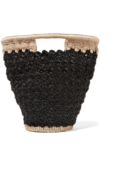 CARRIE FORBES Lily Woven Faux Raffia Bucket Bag in Black