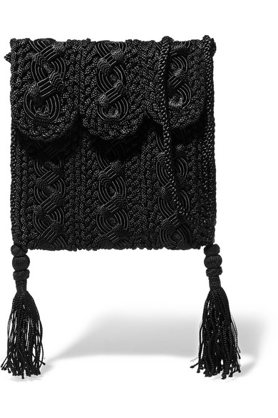 CARRIE FORBES Youssef Small Crocheted Cord Shoulder Bag in Black