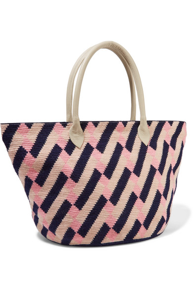 Celio Leather-trimmed Woven Tote - Blush Sophie Anderson xX6CT