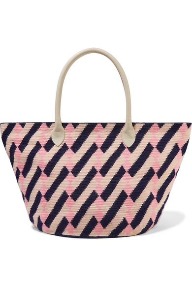 SOPHIE ANDERSON Celio Leather-Trimmed Woven Tote in Blush