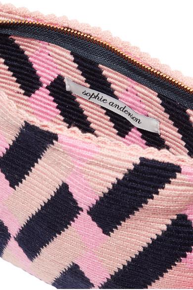 Lia Pompom-embellished Woven Clutch - Blush Sophie Anderson LmsdyzE