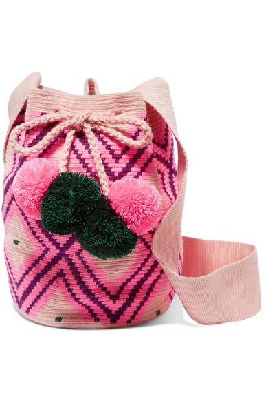 SOPHIE ANDERSON Lila Pompom-Embellished Woven Bucket Bag in Pink