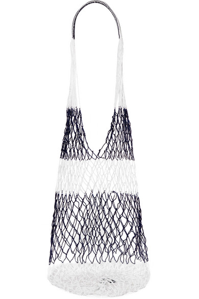 SOPHIE ANDERSON Striped Macramé Shoulder Bag in Navy